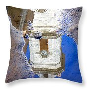 Clock Tower Reflected Throw Pillow