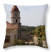 Clock Tower - Rhodos City - Roloi Throw Pillow