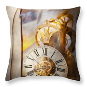 Clockmaker - A Look Back In Time Throw Pillow