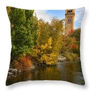 Clocktower In Fall Throw Pillow