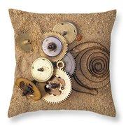 Clockwork Mechanism On The Sand Throw Pillow
