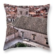Cloistered Garden And Tower In The White City Throw Pillow