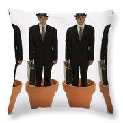 Clones Of Man In Business Suit Standing Throw Pillow by Darren Greenwood