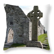 Clonmacnoise Cathedral  And High Cross Ireland Throw Pillow
