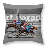 Close Finish At Turf Paradise Throw Pillow