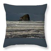 Close Haystack Rock Throw Pillow