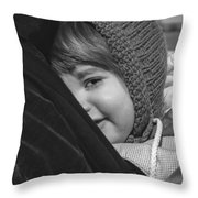 Close To My Daddy Monochrome Throw Pillow