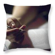 Close-up Of A Hand Holding A Pen Throw Pillow