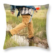 Close-up Of A Male Hiker Throw Pillow