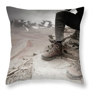 Close Up Of A Mountaineers Windblown Throw Pillow