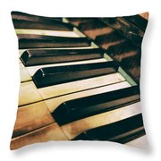 Close Up Of An Old Piano Throw Pillow