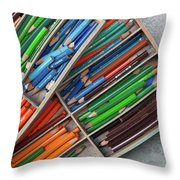 Close-up Of Color Pencils, Ishoj Throw Pillow
