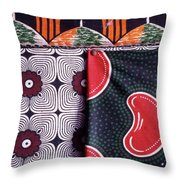 Close Up Of Colorful Khangas For Sale Throw Pillow