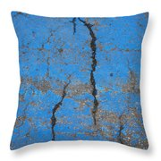 Close Up Of Cracks On A Blue Painted Throw Pillow
