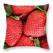 Close Up Of Delicious Strawberries Throw Pillow