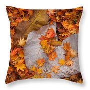 Close-up Of Fallen Maple Leaves Throw Pillow