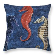 Close-up Of Five Seahorses Side By Side  Throw Pillow