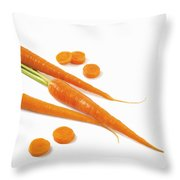 Close-up Of Fresh Carrots Throw Pillow