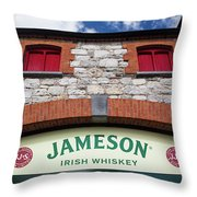 Close-up Of The Entrance Sign Throw Pillow
