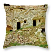 Close-up Of Tufa-carved Homes In Cappadocia-turkey Throw Pillow