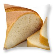 Close-up Of White Bread With Slices Throw Pillow