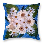 Close Up Of White Daisy Bouquet Throw Pillow