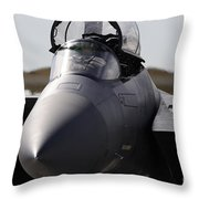 Close-up View Of A F-15c Eagle Throw Pillow