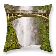 Close Up View Of Multnomah Falls In The Columbia River Gorge Of Oregon Throw Pillow
