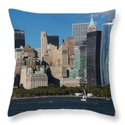 Close View Of Downtown Manhattan Eastern Skyline Throw Pillow
