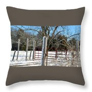 Closed Gate In Winter  Throw Pillow