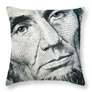 Closeup Of A Five Dollar Bill Throw Pillow