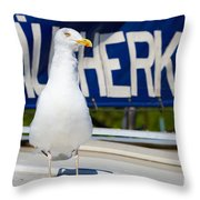 Closeup Of A Seagull On A Fisher Boat  Throw Pillow