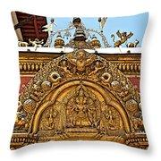 Closeup Of Carving Over Door In Bhaktapur Durbar Square In Bhaktapur-nepal Throw Pillow