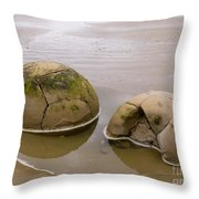 Closeup Of Famous Spherical Moeraki Boulders In Nz Throw Pillow