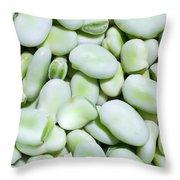 Closeup Of Fresh Fava Beans Throw Pillow