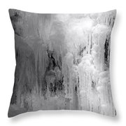 Closeup Of Icy Waterfall - Black And White Throw Pillow