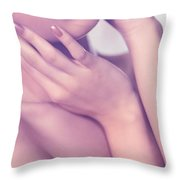 Closeup Of Sensual Woman Mouth And Pink Lips Throw Pillow