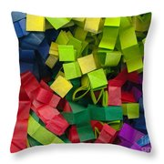 Colorful Cut Tissue Paper Throw Pillow