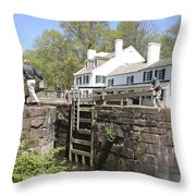 Closing A Lock On The C And O Canal At Great Falls Tavern Throw Pillow