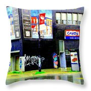 Closing Time Montreal Factory Glatts Produits Quebec Meats Graffiti Art City Scenes Carole Spandau Throw Pillow