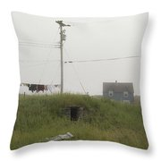 Clothes Line And Fog Throw Pillow