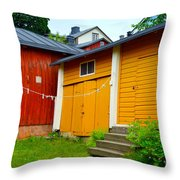 Clothesline In Porvoo In Finland Throw Pillow