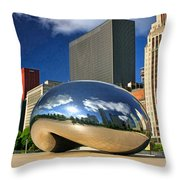 Cloud Gate Skyscrapers Throw Pillow