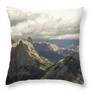 Cloud Over Rugged Mountain Peaks Banff Throw Pillow
