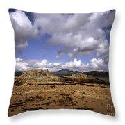 Cloud Passing Across The Cuillin Main Ridge And Bla Bheinn From Tokavaig Sleat Isle Of Skye Scotland Throw Pillow