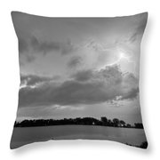 Cloud To Cloud Lake Lightning Strike In Bw Throw Pillow