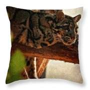 Clouded Leopard II Painted Version Throw Pillow