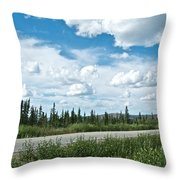 Clouds Above Taylor Highway To Chicken-ak Throw Pillow