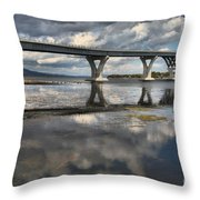 Clouds And Reflections Over Lake Champlain Throw Pillow
