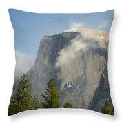 Clouds Around Half Dome  Throw Pillow by Jim and Emily Bush